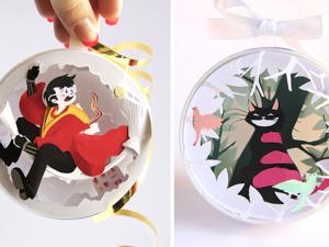 Сказочная бумагопластика: Гарри Поттер и Алиса, застывшие в елочных шарах. Ярмарка Мастеров - ручная работа, handmade.