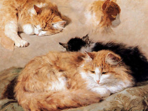 Сats in Paintings by Henriette Ronner-Knip. Purr a Little?. Livemaster - handmade