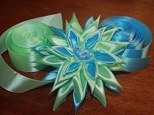 Creating a Mint Blue Flower in the Kanzashi Technique. Livemaster - handmade
