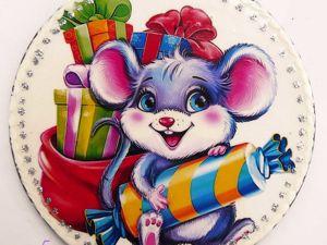 Новогодние магнитики с мышками . Символ года 2020. Ярмарка Мастеров - ручная работа, handmade.