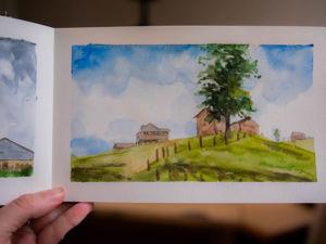 Домики в горах. Рисуем простой акварельный пейзаж за 30 минут. Ярмарка Мастеров - ручная работа, handmade.