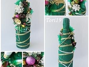 """""""Новогоднее декорирование бутылки"""". Ярмарка Мастеров - ручная работа, handmade."""