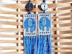 Мастер-класс: создаем этнические серьги «Синие слонята» в технике макраме. Ярмарка Мастеров - ручная работа, handmade.