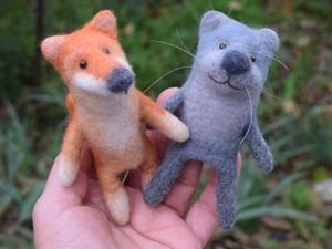 Кот и пес — игрушки на пальчик. Ярмарка Мастеров - ручная работа, handmade.