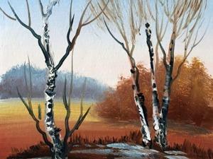 Пишем картину маслом «Весенние берёзки». Ярмарка Мастеров - ручная работа, handmade.