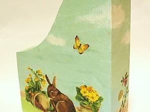 Мастер-класс: журнальница с зайцами в технике декупаж. Ярмарка Мастеров - ручная работа, handmade.