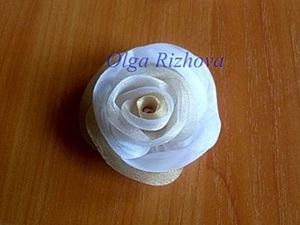 Цветок из органзы мягкий. Ярмарка Мастеров - ручная работа, handmade.