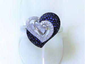 Видеоролик кольца серебряного с сапфировым кварцем  «Любящие сердца». Ярмарка Мастеров - ручная работа, handmade.