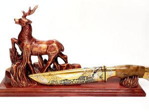 Нож на подставке  «Олень» . Златоуст z1546. Ярмарка Мастеров - ручная работа, handmade.