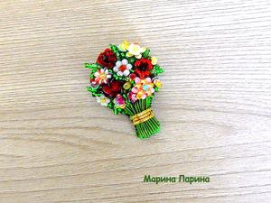 Создаем брошь  «Букет цветов»  из бисера. Ярмарка Мастеров - ручная работа, handmade.