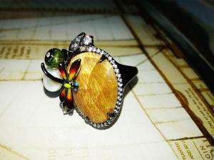 Видео Кольцо  «Стрекоза»  с солнечным камнем. Ярмарка Мастеров - ручная работа, handmade.