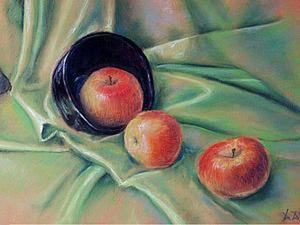 Натюрморт с яблоками в технике сухой пастели. Ярмарка Мастеров - ручная работа, handmade.