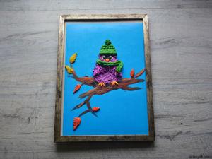 Создаем картину «Совенок встречает осень» из пластилина. Ярмарка Мастеров - ручная работа, handmade.