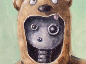 День 304. Картина маслом  «Неправильный медведь» . 5-я работа из серии 50 дней масла. Ярмарка Мастеров - ручная работа, handmade.