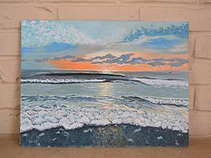"""Живопись масляными красками: пишем картину """"Море. Огненный закат"""". Ярмарка Мастеров - ручная работа, handmade."""