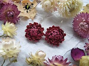 Polymer Earrings with Immortelle Flowers DIY. Livemaster - handmade