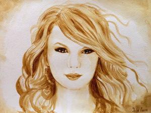 Видео мастер-класс: рисуем кофейный портрет певицы Тейлор Свифт. Ярмарка Мастеров - ручная работа, handmade.