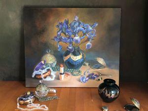 Фрагменты создания картины  «Цвет настроения — ирисы». Ярмарка Мастеров - ручная работа, handmade.