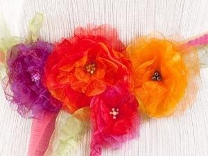 Нарядный пояс с цветами из органзы. Ярмарка Мастеров - ручная работа, handmade.
