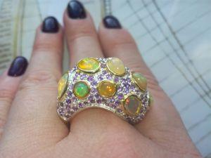 Видео! Роскошное кольцо  «Богема»  с опалами. Ярмарка Мастеров - ручная работа, handmade.