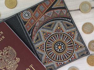 Точечная роспись обложки на паспорт. Ярмарка Мастеров - ручная работа, handmade.