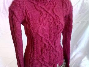 Скидка 47% на бордовый вязаный свитер. Ярмарка Мастеров - ручная работа, handmade.