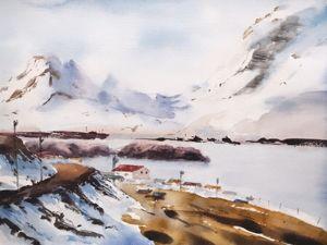 Пишем акварельный пейзаж «Фьорды». Ярмарка Мастеров - ручная работа, handmade.