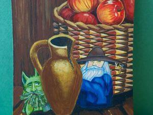Рисуем акрилом добрых домашних духов на кухонной доске. Ярмарка Мастеров - ручная работа, handmade.