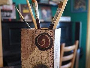 Одношаговый кракелюр + декупаж. Ярмарка Мастеров - ручная работа, handmade.