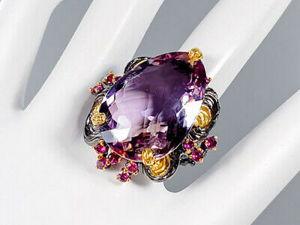 Авторское крупное кольцо-перстень с натуральным аметрином. Ярмарка Мастеров - ручная работа, handmade.