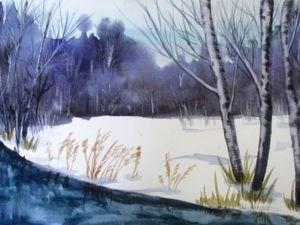 Рисуем акварелью зимний пейзаж. Ярмарка Мастеров - ручная работа, handmade.