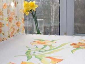 Расписываем платок «Нарциссы» в технике холодный батик. Ярмарка Мастеров - ручная работа, handmade.
