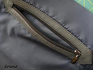 Как правильно обработать на подкладке сумки прорезной карман с накладной кожаной рамкой. Ярмарка Мастеров - ручная работа, handmade.