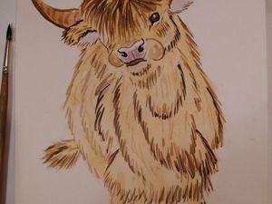 Как нарисовать бычка акварелью. Ярмарка Мастеров - ручная работа, handmade.