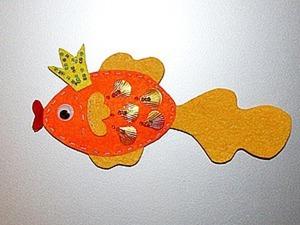 """Делаем магнит из фетра """"Золотая рыбка"""". Ярмарка Мастеров - ручная работа, handmade."""