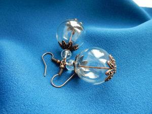 Серьги  «Пузыри в античной меди с горным хрусталём». Ярмарка Мастеров - ручная работа, handmade.