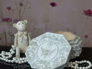 Белая шкатулка в стиле Прованс  «Qween Bee» , Подарок девушке. Ярмарка Мастеров - ручная работа, handmade.