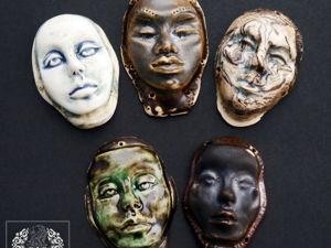 Кабошоны-лица из керамики. Лица для украшений. Керамические лики. Ярмарка Мастеров - ручная работа, handmade.