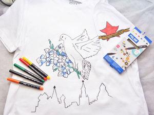 Роспись майки фломастерами по ткани ко Дню Победы. Ярмарка Мастеров - ручная работа, handmade.