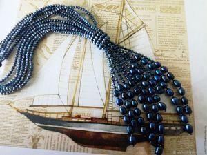 Купи со скидкой! Жемчужное ожерелье  «Гейша»  с натуральным черным жемчугом. Ярмарка Мастеров - ручная работа, handmade.