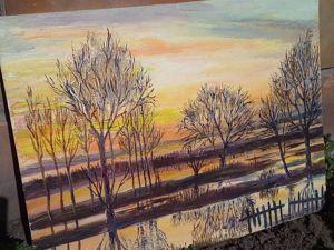 Моя картина  «Рассвет весной». Ярмарка Мастеров - ручная работа, handmade.