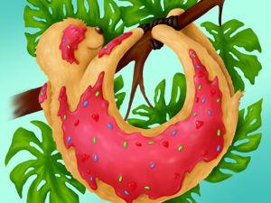 """Пробую программу Paint Tool SAI 2 — иллюстрация Ленивый пончик"""". Ярмарка Мастеров - ручная работа, handmade."""