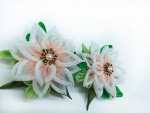 Создаем зажимы (заколки) с цветами из градиентной органзы. Ярмарка Мастеров - ручная работа, handmade.