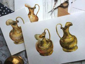 Рисуем золотой кувшин акварелью за 30 минут. Ярмарка Мастеров - ручная работа, handmade.