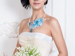 Создаем свадебное колье «Winter Flower» с шелковой лентой шибори. Ярмарка Мастеров - ручная работа, handmade.
