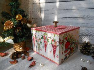 Делаем новогодний короб в технике декупаж. Ярмарка Мастеров - ручная работа, handmade.