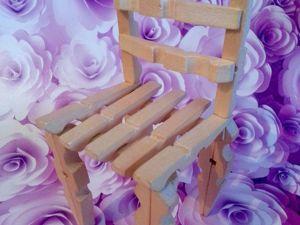 Создаем стульчик для кукол из прищепок. Ярмарка Мастеров - ручная работа, handmade.