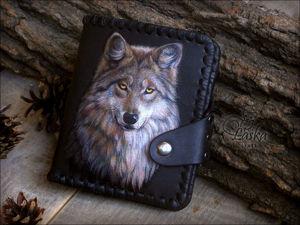 Живопись по коже на основе фотографии. Волк. Ярмарка Мастеров - ручная работа, handmade.