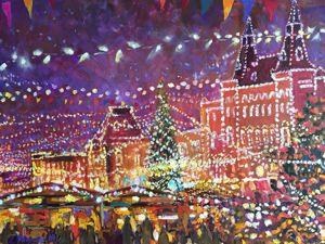 Зима и ее праздники — авторские картины маслом. Ярмарка Мастеров - ручная работа, handmade.