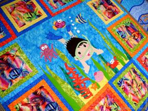 Детское лоскутное покрывало  «В царстве Нептуна» !!. Ярмарка Мастеров - ручная работа, handmade.